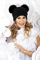 Модная женская шапка с меховыми помпонами TERE черная