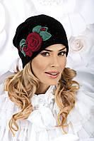 Шикарная женская шапка с розой SOFITESA черная, белая