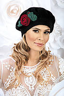 Красивый женский берет с розой SARITA белый