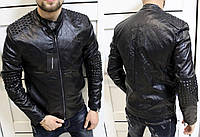 Куртка мужская Dolce Gabba с шипами  плотная кожа РU Супер качество Tурция