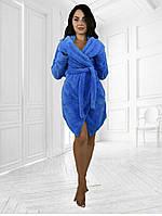 Короткий махровый женский халат