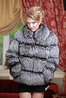Полушубок жилет из чернобурки (перфорация) silver fox fur coat and vest