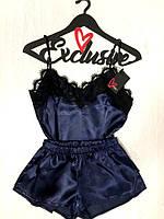 Женский атласный  комплект с кружевом, женские пижамы