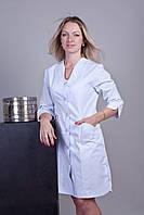Медицинский халат для врача белый с рукавом три четверти