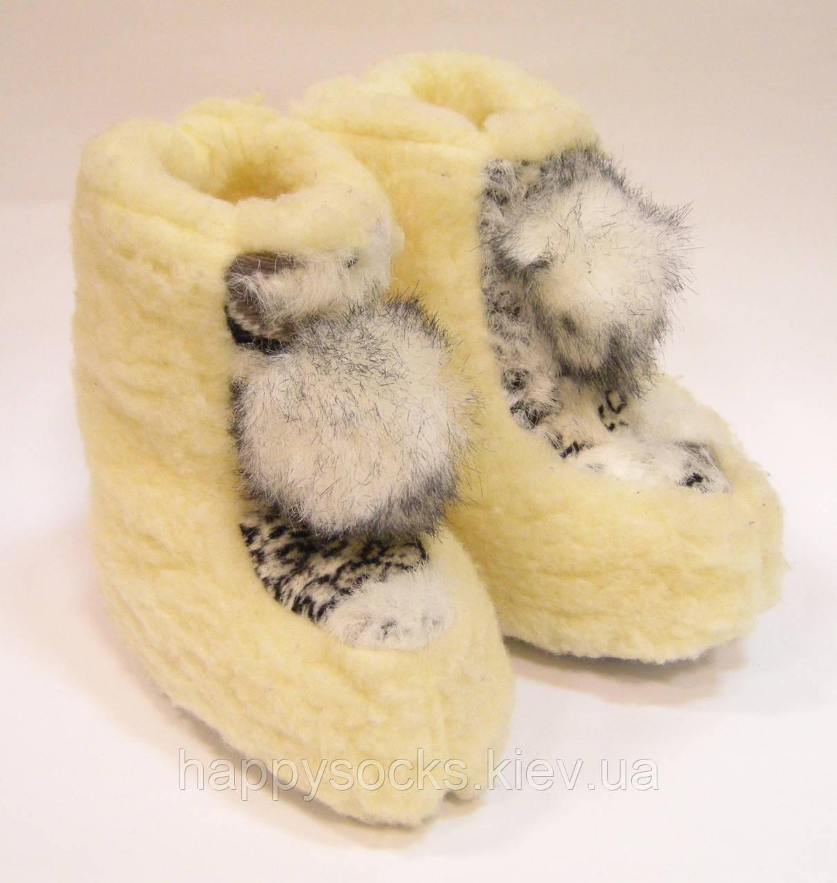 Детские носки-сапожки-чуни домашние из овчины