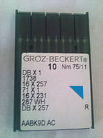Иглы для промышленных швейных машин DBx1 № 75 R Groz-Beckert (Германия)