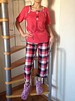 Пижама яркая женская ТМ Dream Well, Турция. Домашний комплект: футболка+бриджи, размеры разные. Разные цвета.