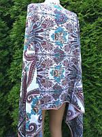 Палантин шарф жіночий білий з орнаментом 175*75 см
