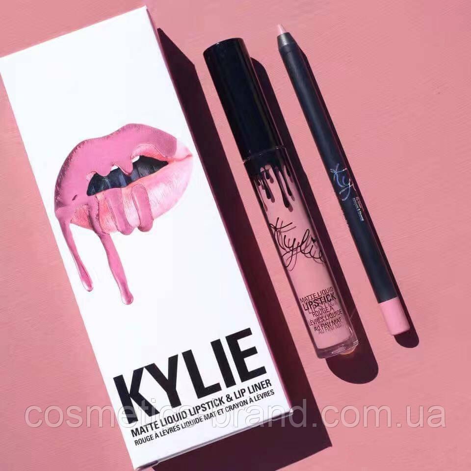 Рідка матова помада і олівець Kylie Matte Liquid Lipstick & Lip Liner So Cute (репліка)
