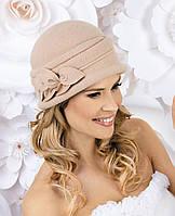 Красивая женская шляпка в 3х цветах MONIC бежевый, пыльная роза, синий