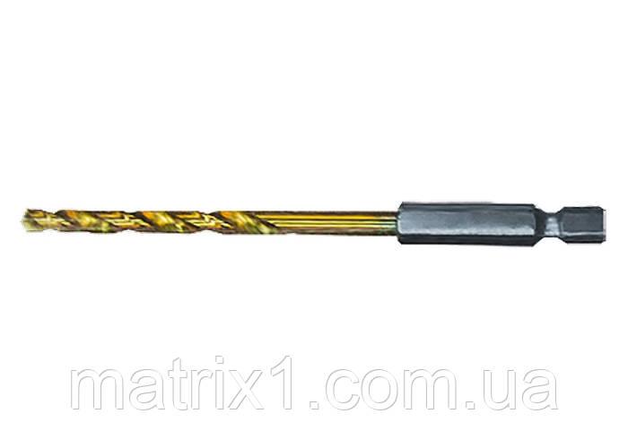Сверло по металлу, 5,5 мм, HSS, нитридтитановое покрытие, 6-гранный хвостовик/ MTX