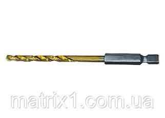 Сверло по металлу, 2 мм, HSS, нитридтитановое покрытие, 6-гранный хвостовик/ MTX