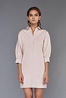 Платье-рубашка пудрового цвета