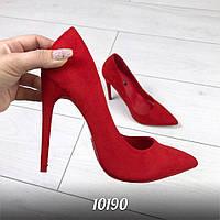 Женские туфли красные на каблуках Польша