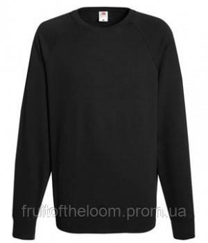 Мужской легкий свитер толстовка реглан Fruit of the loom 62-138-0 36 Черный, S