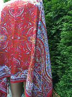 Палантин червоний з орнаментом та квітами 175*75 см