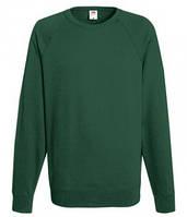 Мужской легкий свитер толстовка реглан Fruit of the loom 62-138-0 38 Темно-Зеленый (Бутылочный), M