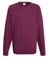 Мужской легкий свитер толстовка реглан Fruit of the loom 62-138-0 41 Бордовый, L