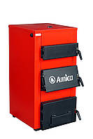 Традиционный стальной твердотопливный котел Amika Solid. В комплекте регулятор тяги Regulus RT-4, фото 1