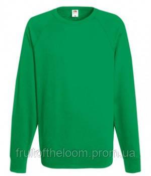 Мужской легкий свитер толстовка реглан Fruit of the loom 62-138-0 47 Ярко-Зеленый, M