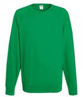 Мужской легкий свитер толстовка реглан Fruit of the loom 62-138-0 47 Ярко-Зеленый, L