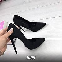 Женские туфли чёрные на каблуках Польша