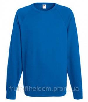Мужской легкий свитер толстовка реглан Fruit of the loom 62-138-0 51 Ярко-Синий, S