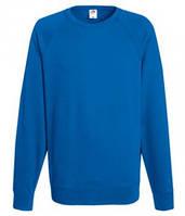 Мужской легкий свитер толстовка реглан Fruit of the loom 62-138-0 51 Ярко-Синий, XL