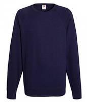 Мужской легкий свитер толстовка реглан Fruit of the loom 62-138-0 AZ Глубокий Темно-Синий, S