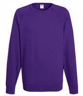 Мужской легкий свитер толстовка реглан Fruit of the loom 62-138-0 PE Фиолетовый, S
