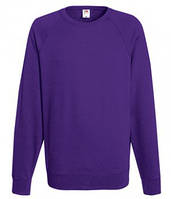 Мужской легкий свитер толстовка реглан Fruit of the loom 62-138-0 PE Фиолетовый, 2XL