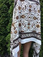 Палантин шарф з орнаментом та квітами 175*75 см