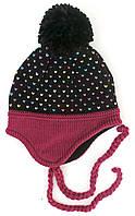 Зимняя детская шапка для девочки Nano F17 TU 274 Black. Размеры  9/12 мес.- 7-12.
