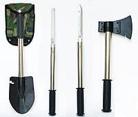 Туристический набор 4 в 1: саперская лопата, топор, пила, нож с чехлом