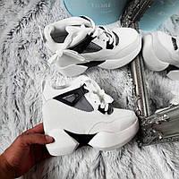 Белые кроссовки в сетку на танкетке код 370, фото 1