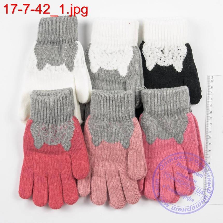 Оптом трикотажные перчатки для девочек 6, 7, 8, 9 лет - №17-7-42, фото 2