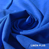Синяя (Электрик) льняная ткань, цвет 1318