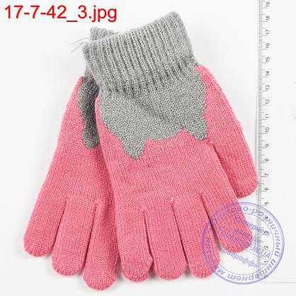 Оптом трикотажные перчатки для девочек 6, 7, 8, 9 лет - №17-7-42, фото 3