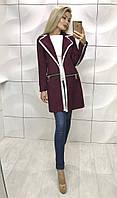 Женский осенний кардиган пальто со змейками и кружевом бордовый 42-44 44-46