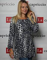 Блузка удлиненная с принтом TABOO 7-108, серый леопард