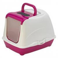 Закрытый туалет для кошек,с откидной крышкой, Moderna МОДЕРНА ФЛИП КЭТ, 50х39х37 см, ярко-розовый
