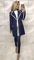 Женский осенний кардиган пальто со змейками и кружевом синий 42-44 44-46
