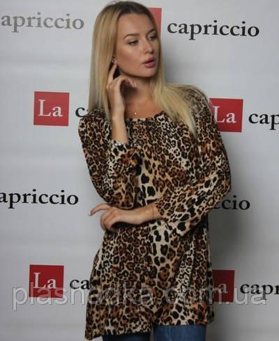 Блузка удлиненная с принтом TABOO 7-108, коричневый леопард