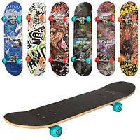 Скейт MS 0321-3  79,5-19,5см,алюм.подвеска, колесаПУ,7слоев,608Z,разобр, доска наждак,6видов,куль