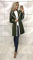 Женский осенний кардиган пальто со змейками и кружевом хаки 42-44 44-46