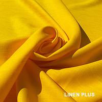 Льняная желтая натуральная ткань, цвет 1363