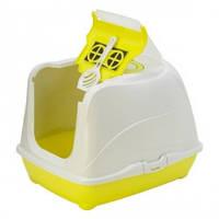 Закрытый туалет для кошек,с откидной крышкой, Moderna МОДЕРНА ФЛИП КЭТ, 50х39х37 см, лимонный