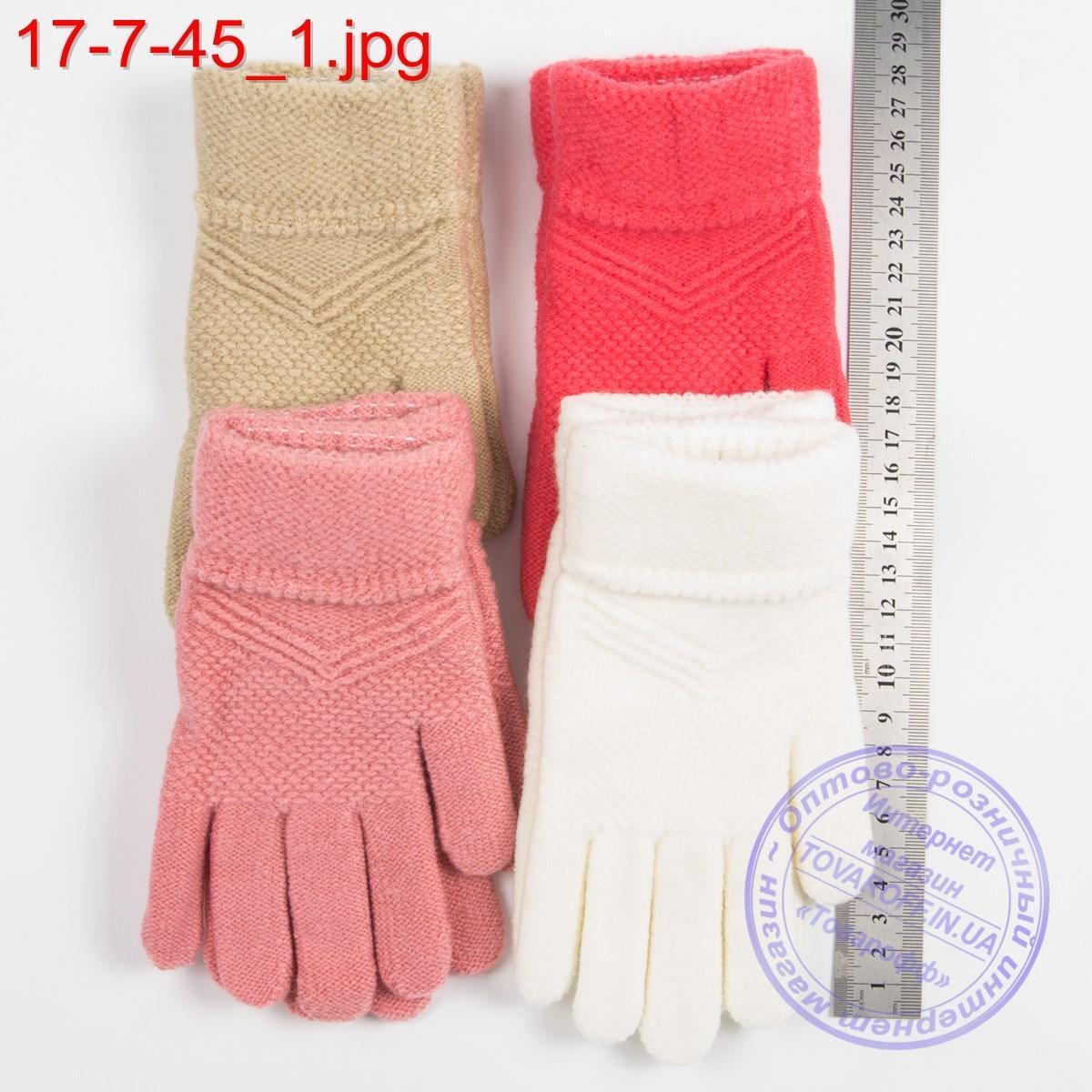 Оптом шерстяные перчатки для девочек 6, 7, 8, 9 лет - №17-7-45