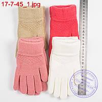 Оптом шерстяные перчатки для девочек 6, 7, 8, 9 лет - №17-7-45, фото 1