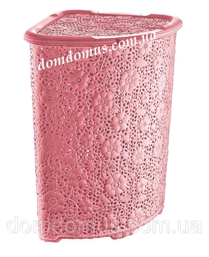 """Корзина угловая ажурная для белья """"Мотив"""" Dunya Plastik, Турция, розовая"""